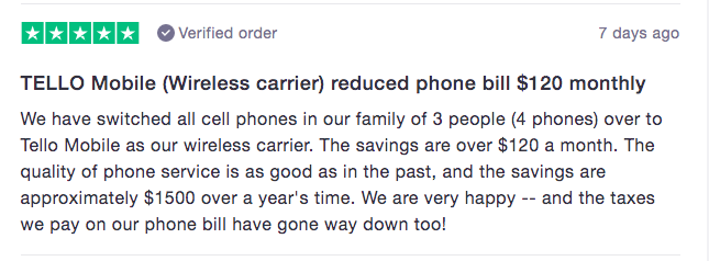 tello customer review